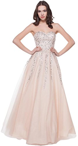 (Meier Women's Strapless Beaded Quinceañera Ball Gown Prom Dress Champagne-14)