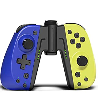 KINVOCA C25 Joypad for Nintendo Switch/Lite - Wired/Wireless Switch Controller - Replacement for Joycon - Programmable Macros, Turbo, Motion Control & Dual Shock (Blue and Yellow w/Grip)