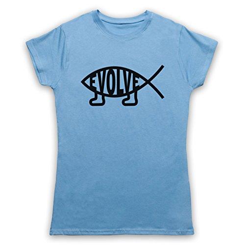 Evolve Evolution Atheist Symbol Camiseta para Mujer azul celeste
