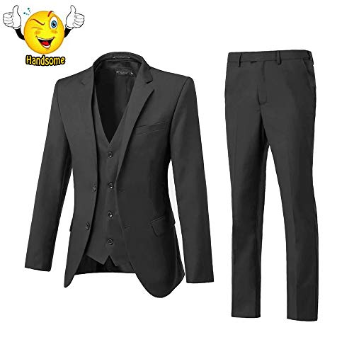 (High-End Suits Men's Big and Tall Single Breasted Modern Fit 2 Button Notch Lapel Black Suit Jacket for Men)