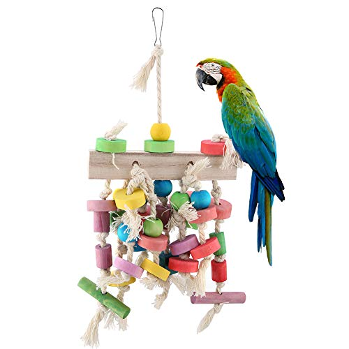 HEEPDD Bird Chewing Toy Parrot Cage Bite Toys Multicolored Wooden Blocks Tearing Toys Hanging Swing for Conures…