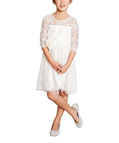 PLwedding Elegant Half Sleeves Flower Girls White Lace Dresses (Size 4, White)