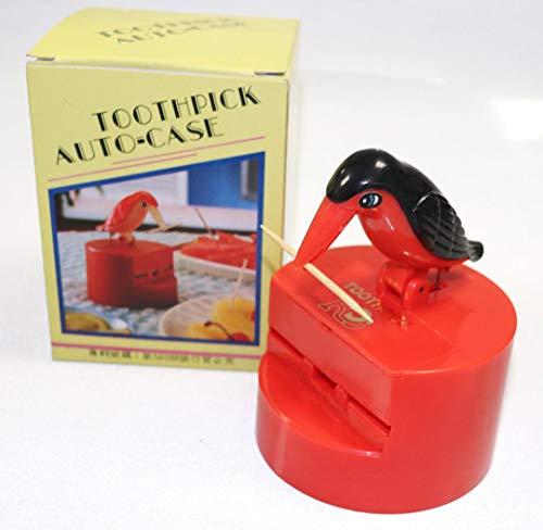 Rdj Red Toothpick Auto Bird Dispenser Gag Gift Sanitary (Toothpick Bird Dispenser)
