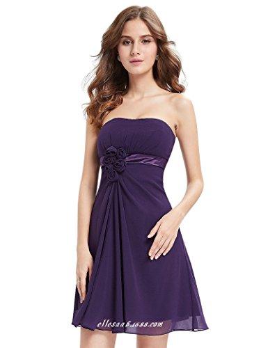 Kurzer Purple Abendkleid Kleider Chiffon Kleid Festliche Ballkleid CoCogirls Damen Trägerlos Brautjungfer für dpcZUq8P