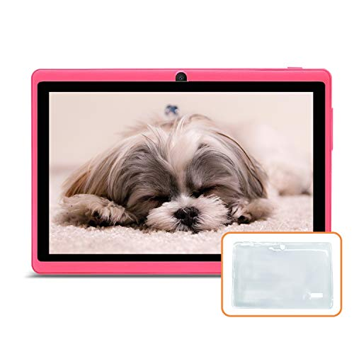 JINYJIA 7 Inches Tablet PC, Google Android 9.0 HD Tablet With Silicone Gel Translucent Case, Quad Core 1GB+16GB, WiFi…