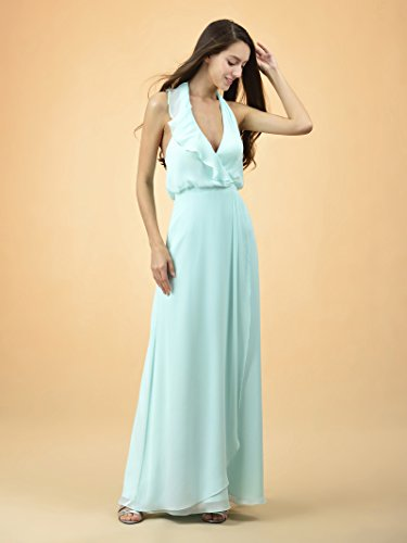w Halter Evening Dress Party Dress Bridesmaid Chiffon Yellow Long Maxi Ruffles Alicepub XRFzwz