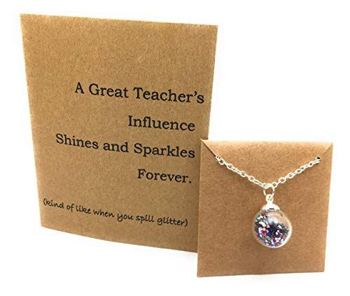 Teachers Gift Set. Teacher Necklace Glitter in Glass and Thank you Card. Gift Boxed by Dorinta