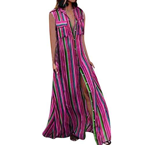 Sunyastor Maxi Dresses for Women Bohemia Casual Striple Dress Casual Button Sleeveless Dresses Summer Loose Party Long Dress Hot Pink