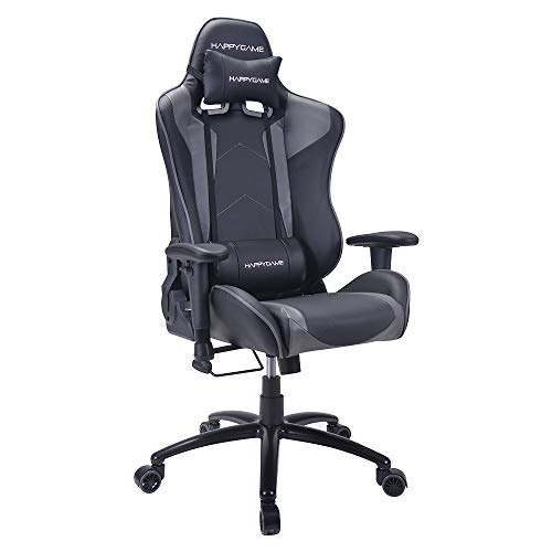 HAPPYGAME Racing Gaming Chair Oversized High Back Ergonomic Swivel Computer Chairs Executive Office Chair with Headrest and Lumbar Support, Grey