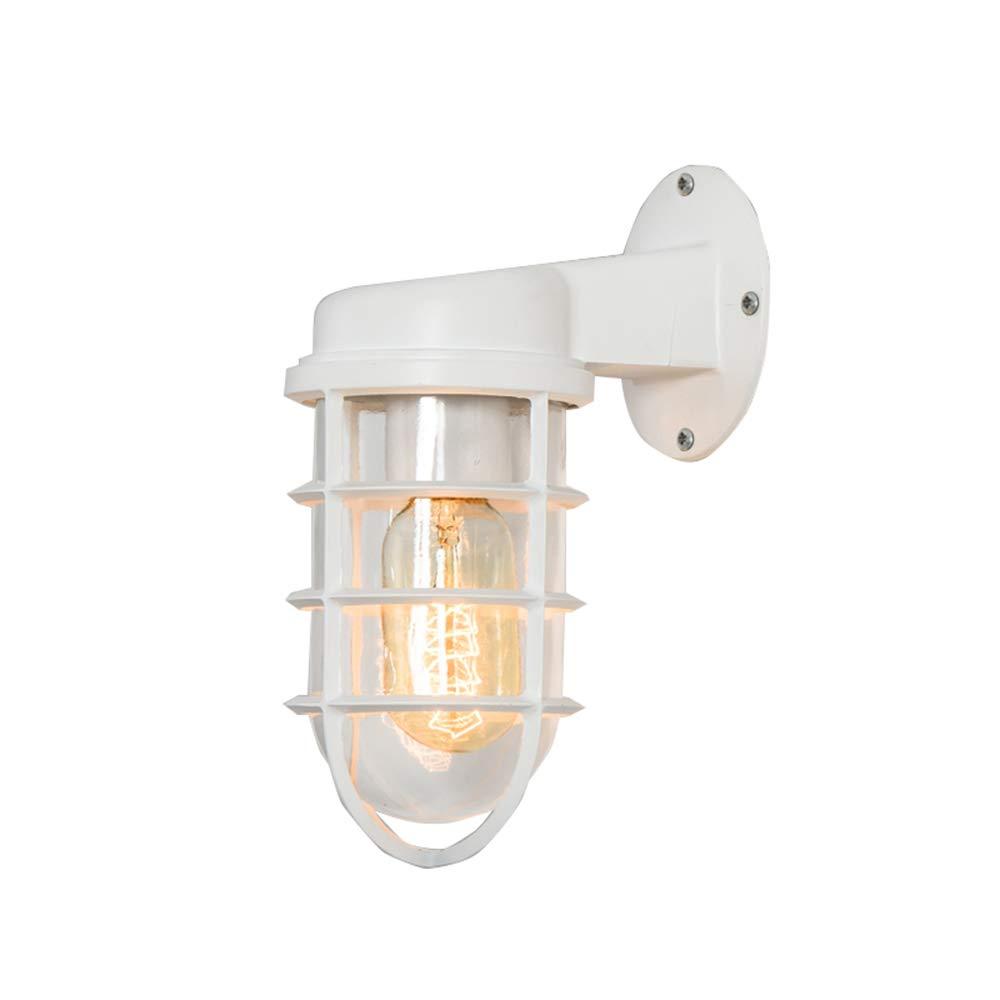 Wandlampe Retro-Industrie Kunst Beleuchtung Restaurant Wohnzimmer Bekleidungsgeschäft Hohlglas Schmiedeeisen Wandleuchte Größe  19  16cm (Farbe   Weiß)