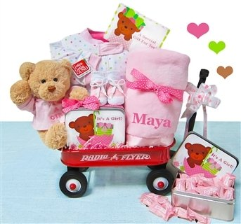 It's A Girl | Gift for New Baby Girlsl in a Miniature Radio Flyer Wagon by All Diaper Cakes