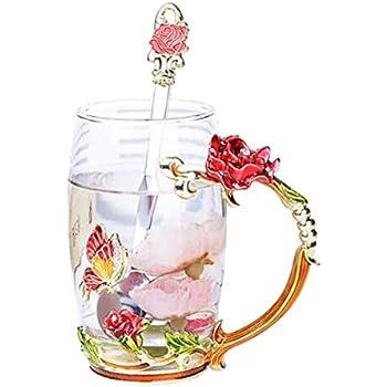 Amazon.com: YBK Tech - Taza de cristal con diseño de flor ...
