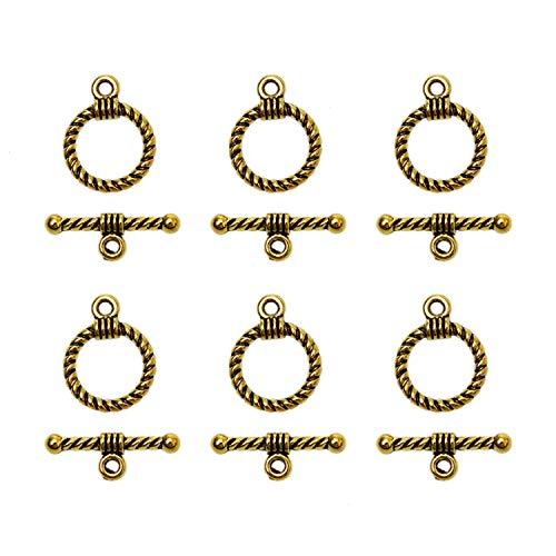 Monrocco 50 Set Antique Gold Toggle Jewelry Clasps 12 x 17mm Necklace Toggle Clasp Copper Toggle TBar Clasps Findings Jewelry Making