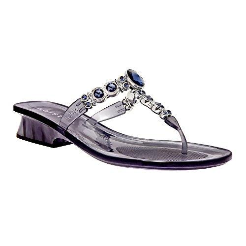 Womens Luxury Jeweled Australian Crystal Heel Summer Sandal (6, Clear Midnight - Noosa 9