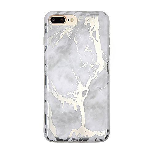 Price comparison product image White Marble iPhone 7 PLUS case Silver Chrome Cover by Velvet Caviar Cute Case for Girls