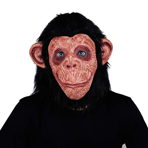 Latex Halloween Costume Gorilla Face Mask Chimpanzee Apes Monkey Mask with Hair Perfect for Cosplay Party -
