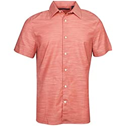 Perry Ellis Men's  Short Sleeve Solid Slub Texture Shirt, Spiced Coral, Large
