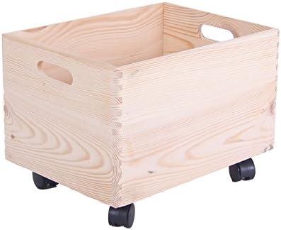 Caja de madera sobre ruedas caja madera infantil madera Buzón Roll Caja: Amazon.es: Juguetes y juegos