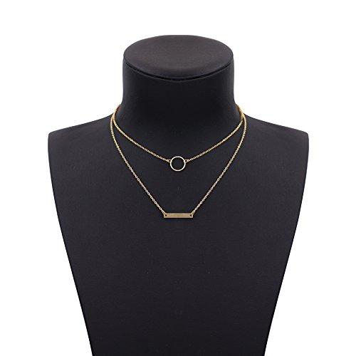Boosic Circle & Bar Pendant Double Layer Necklaces for Women, Golden