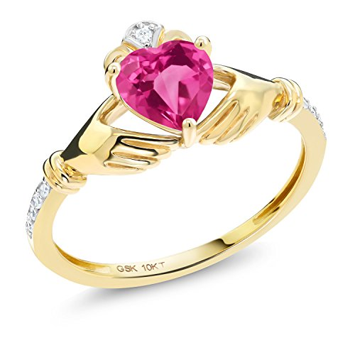 Gem Stone King 1.01 Ct Irish Celtic Claddagh Pink Mystic Topaz Diamond Accent 10K Yellow Gold Ring (Size 8)