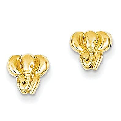 Amazon 14k yellow gold elephant earrings 028 in x 031 in 14k yellow gold elephant earrings 028 in x 031 in freerunsca Images