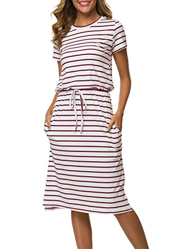 Women's Striped Short Sleeve Casual Pockets Midi Dress with Belt Striped 2 L