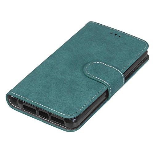 Funda bq Aquaris E4.5 , Cascara bq Aquaris E4.5, E-lush Premium Cuero Wallet Flip PU Case Caja para bq Aquaris E4.5 Clásico monocromo Sencillo Diseño Caso parachoques con Suave Silicona Back Cover Cie Azul