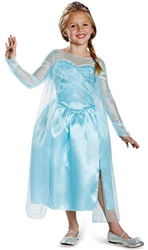 [Disney's Frozen Elsa Snow Queen Gown Classic Girls Costume, Medium/7-8] (Material Girl Fancy Dress Costume)