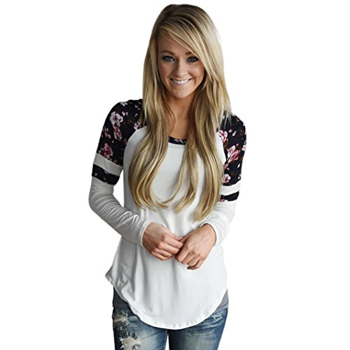 iTLOTL Women Floral Splice Printing Long Sleeve Round Neck Pullover Blouse Tops T Shirt(White,US-6/CN-M)