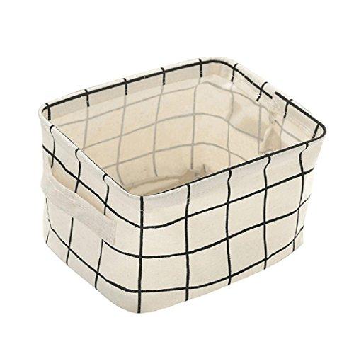 YJYDADA Foldable Storage Bin Closet Toy Box Container Organizer Fabric Basket,20X15 X 12cm/7.9X5.9X4.72 inches (White) from YJYDADA