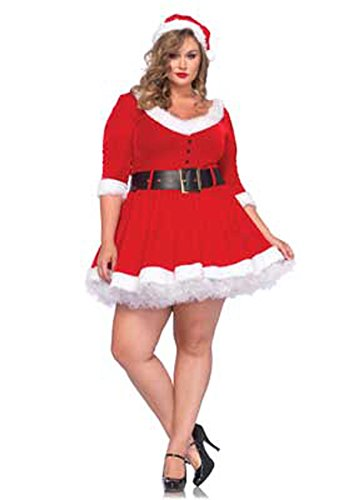 [Leg Avenue Women's Plus-Size Miss Santa, Red, 1X/2X] (Leg Avenue Fur Costumes)