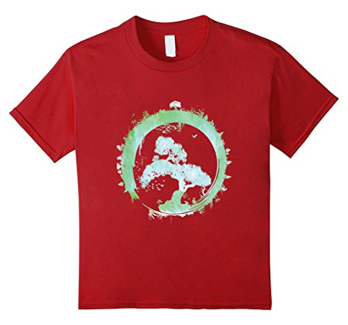 Kids Cranberry Apparel - Kids Bonsai Tree Enso Circle Art T-Shirt Japanese Tee Gift 12 Cranberry