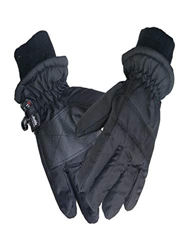 Fine Kids Winter Ski Gloves, Winter Warm Insulation Outdoor Windproof Snow Gloves for Women, Youth, Kid, Skiing, Snowboarding, Motorcycling, Cycling (Black) (Skids Ski Gloves)