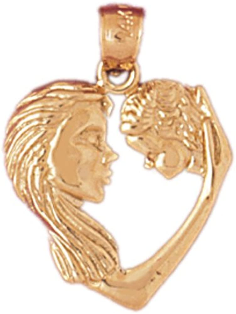 15mm x 20mm 14k Yellow Gold Mother and Child Heart Pendant