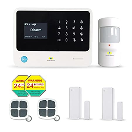 Golden Security Touch Screen Keypad LCD Display WiFi & GSM 2-in-1 with Auto Dial, Motion Detectors and More DIY Home Alarm System G90B-W01