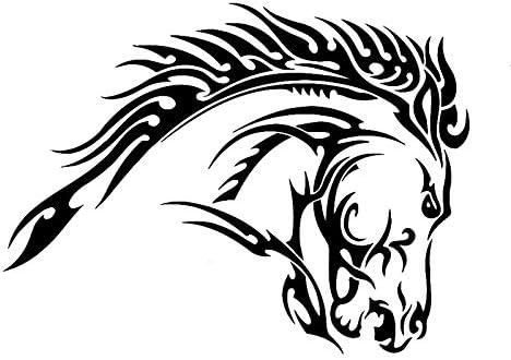 2 piezas, pegatinas de coche, tatuaje tribal animal caballo semental pegatinas coche pegatina para el parachoques arte decoración pegatinas, vinilo coche pegatina con reflectante e impermeable para