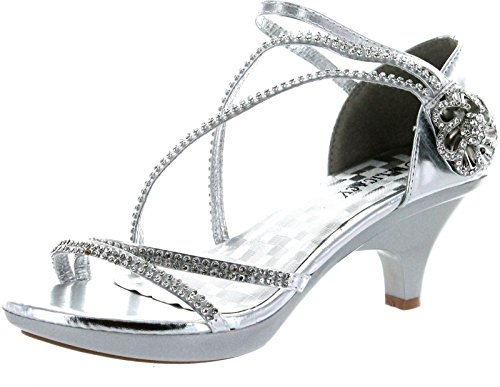 Delicacy Womens Angel-48 Party Dress Sandals Pumps,Silver,10
