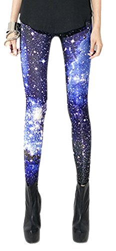 QZUnique Women's Shining Star Purple Space Printed Elastic Tights Leggings