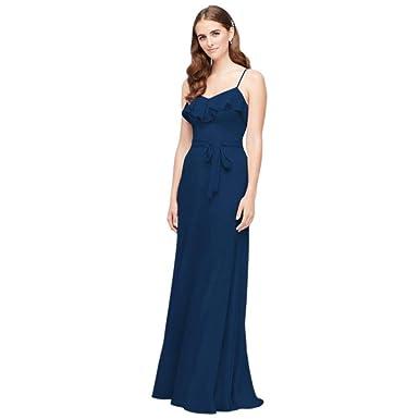 d964a0bed09 David s Bridal Ruffled Crinkle Chiffon Bridesmaid Dress Style F19921 at  Amazon Women s Clothing store