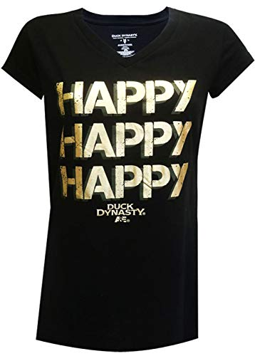 MJC Women's Duck Dynasty Happy Happy Happy Night Shirt (Large) Black