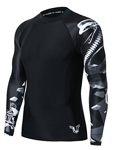 (HUGE SPORTS Wildling Series UV Protection Quick Dry Compression Rash Guard (Cobra,L))