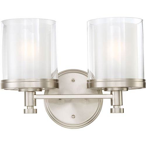 251 First Selby Brushed Nickel Two-Light Vanity with Clear and Frosted Glass Shade