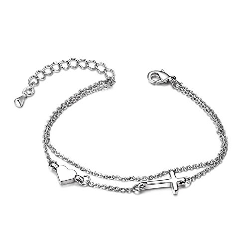 Faith Heart Bracelet (Jesie Club Crucifix Religious Christian in Good Faith Classic Cross Heart Bracelet)