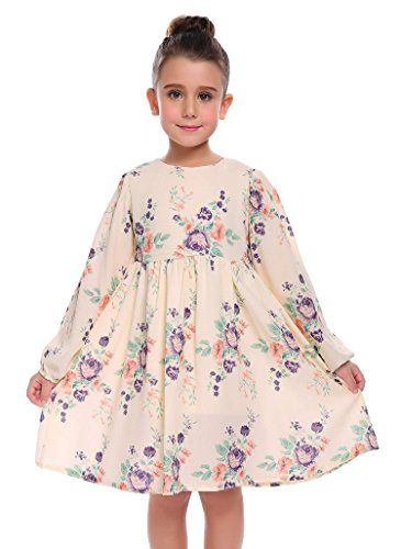 Arshiner Little Girls Long Sleeve Floral Dress Castle Princess Autumn Dress High Waist A-Line Fancy Vintage Design