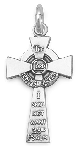 Sterling Silver Charm Pendant, Celtic Cross, 23rd Psalm Reference,13/16 in ()