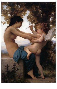 (11x14) William-Adolphe Bouguereau Girl Defending Herself Against Love Art Print Poster