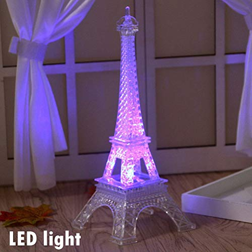 Eiffel Tower Nightlight,10 Inch Desk Bedroom Decoration LED Lamp Paris Fashion Style,Acrylic Birthday Gift(Clear) for $<!--$11.99-->