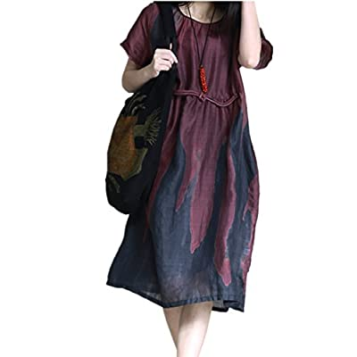 Wholesale YESNO XB7 Women Summer Knee Dress Long Blouse 100% Linen Contrast Color Chinese Traditional Frog Short Sleeve/Pockets for cheap