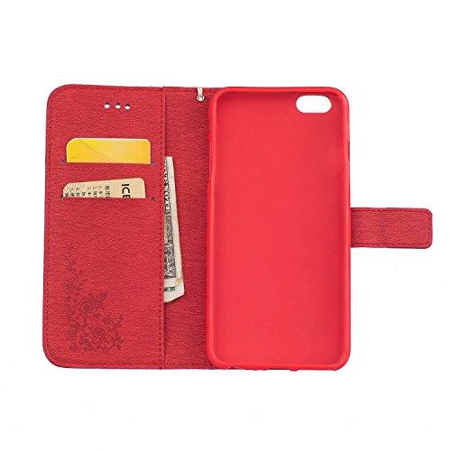 Voguecase® Pour Apple iPhone 6 Plus/6s Plus 5,5 Coque, Etui Housse Cuir Portefeuille Case Cover (Papillon III-Rouge)de Gratuit stylet l'écran aléatoire universelle