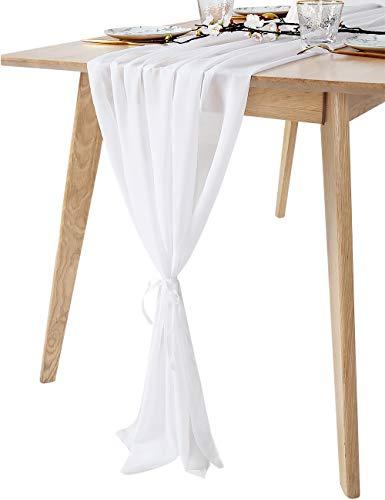 QueenDream 10Ft White Sheer Table Runner for Wedding Decor Boho Party Bridal Shower Home Table Decorations
